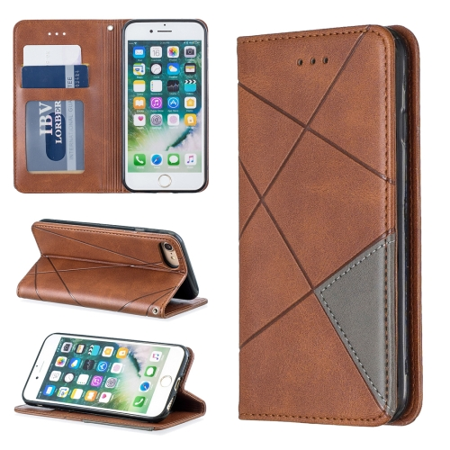 Rhombus Texture Horizontal Flip Magnetic Leather Case with Holder & Card Slots & Wallet For iPhone 8 & 7(Brown)