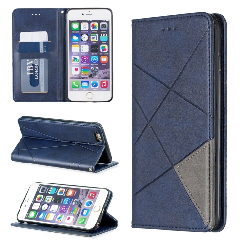 Rhombus Texture Horizontal Flip Magnetic Leather Case with Holder & Card Slots & Wallet For iPhone 6 Plus & 6s Plus(Blue)