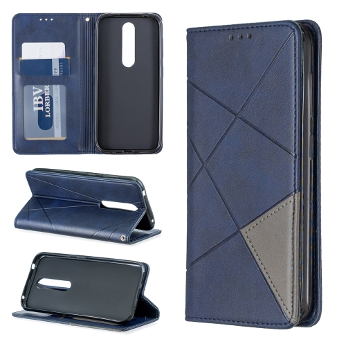 Rhombus Texture Horizontal Flip Magnetic Leather Case with Holder & Card Slots & Wallet For Nokia 4.2(Blue)