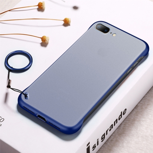 Frosted Anti-skidding TPU Protective Case with Metal Ring for iPhone 7 Plus / 8 Plus(Blue)
