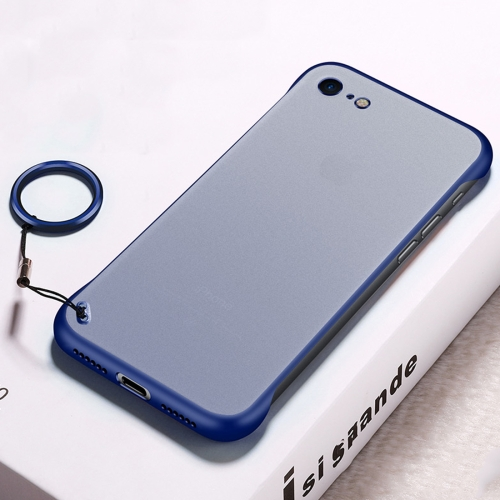 Frosted Anti-skidding TPU Protective Case with Metal Ring for iPhone 7 / 8(Blue)