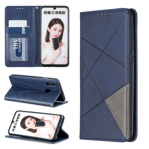 Rhombus Texture Horizontal Flip Magnetic Leather Case with Holder & Card Slots For Huawei P Smart 2019 / Honor 10 Lite(Blue)