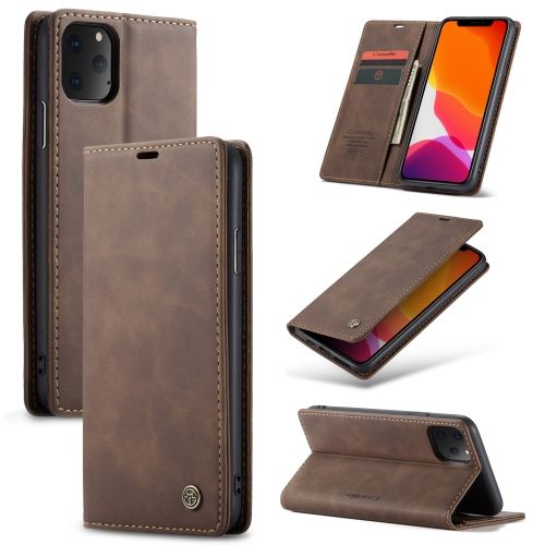 CaseMe-013 Multifunctional Horizontal Flip Leather Case with Card Slot & Holder & Wallet for iPhone 11 Pro(coffee) фото