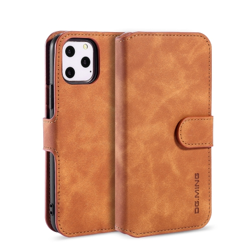 DG.MING Retro Oil Side Horizontal Flip Case with Holder & Card Slots & Wallet for iPhone 11 Pro(Brown) фото