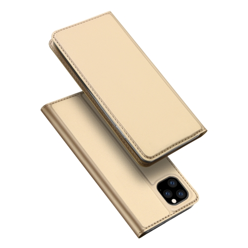 DUX DUCIS Skin Pro Series Shockproof Horizontal Flip Leather Case with Holder & Card Slots for iPhone 11 Pro Max(Gold)