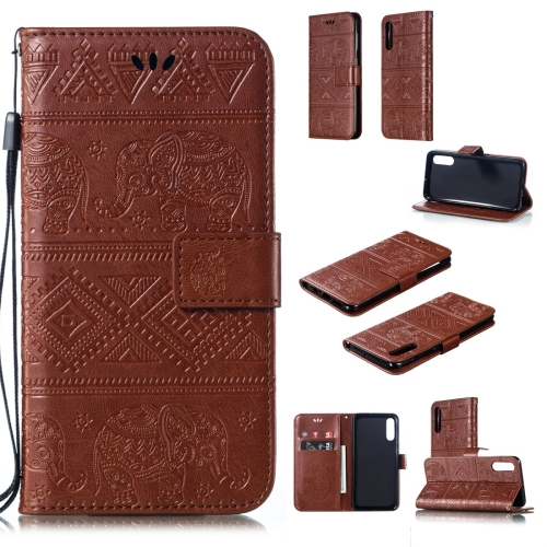 Elephant Embossing Horizontal Flip Leather Case with Holder & Card Slots & Wallet & Lanyard for Galaxy A50(Brown)