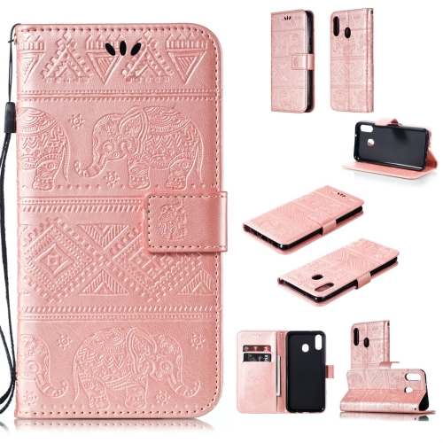 Elephant Embossing Horizontal Flip Leather Case with Holder & Card Slots & Wallet & Lanyard for Galaxy M20(Rose Gold)