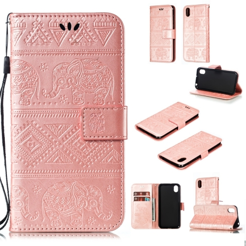Elephant Embossing Horizontal Flip Leather Case with Holder & Card Slots & Wallet & Lanyard for Huawei Y5 (2019) / Honor 8S(Rose Gold)