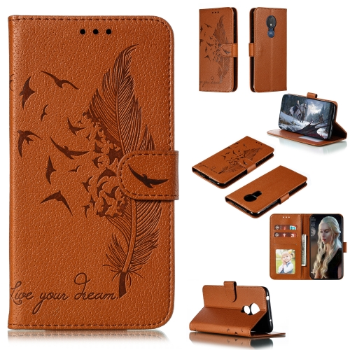 Feather Pattern Litchi Texture Horizontal Flip Leather Case with Wallet & Holder & Card Slots For Motorola Moto G7 Power(Brown)