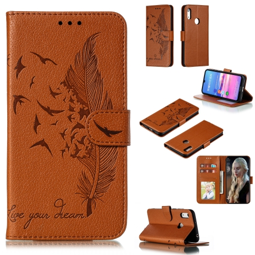 Feather Pattern Litchi Texture Horizontal Flip Leather Case with Wallet & Holder & Card Slots For Huawei Y6 (2019) / Honor Play 8A(Brown)