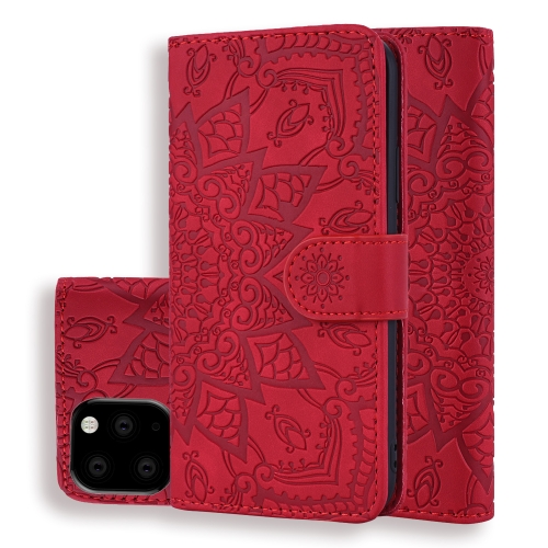 Calf Pattern Double Folding Design Embossed Leather Case with Wallet & Holder & Card Slots for iPhone 11 (6.1 inch)(Red) фото