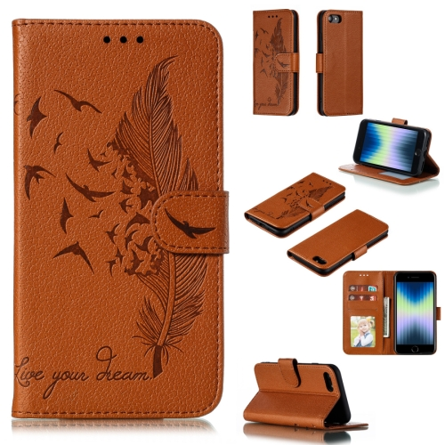 Feather Pattern Litchi Texture Horizontal Flip Leather Case with Wallet & Holder & Card Slots For iPhone SE 2020 / 8 / 7(Brown) фото
