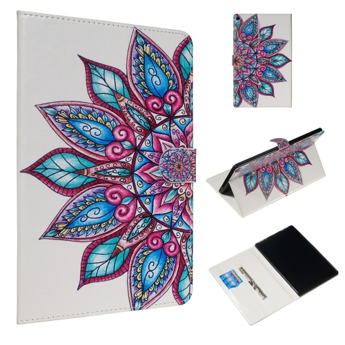 For Amazon Kindle HD10 2017 Colored Drawing Pattern Horizontal Flip PU Leather Case with Holder & Card Slots(Half Flower)