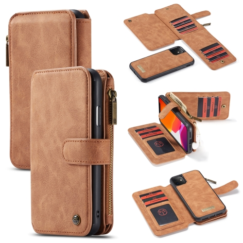 CaseMe-007 Detachable Multifunctional Horizontal Flip Leather Case with Card Slot & Holder & Zipper Wallet & Photo Frame For iPhone 11(Brown)