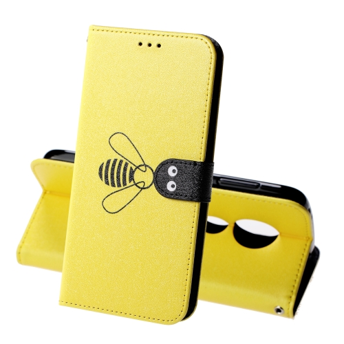For Motorola Moto E5 Play Silk Texture Bee Pattern Horizontal Flip Leather Case with Holder & Card slots & Wallet & Photo Frame(Yellow)