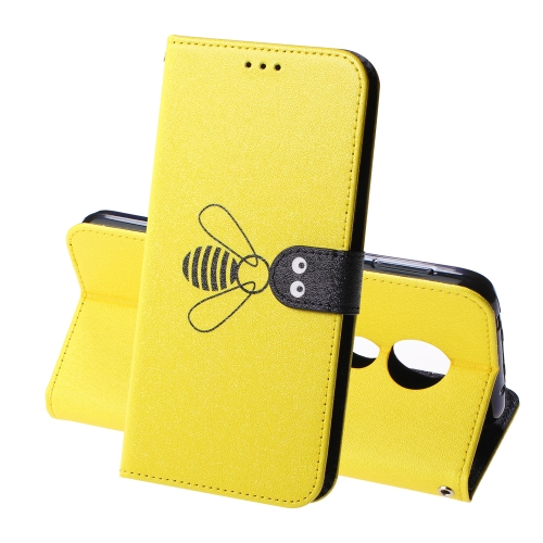 For Motorola Moto G7 Power Silk Texture Bee Pattern Horizontal Flip Leather Case with Holder & Card slots & Wallet & Photo Frame(Yellow)