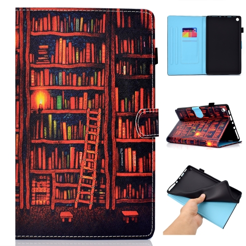 For Amazon Kindle Fire HD 8 Colored Drawing Stitching Horizontal Flip Leather Case, with Holder & Card Slots(Bookshelf)
