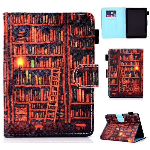 For Amazon Kindle Youth Version 2019 Colored Drawing Stitching Horizontal Flip Leather Case, with Holder & Card Slots(Bookshelf)