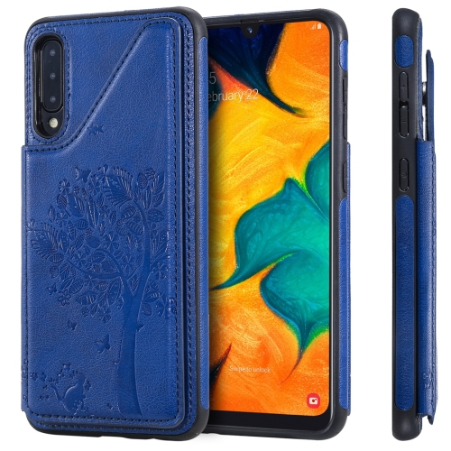 For Galaxy A50 Cat Tree Embossing Pattern Shockproof Protective Case with Card Slots & Photo Frame(Blue)