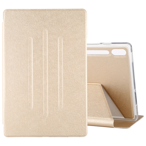 For Galaxy Tab S6 T860 TPU Silk Texture Horizontal Flip Leather Case with Holder(Gold)