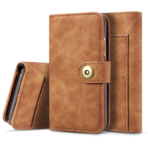 For iPhone 11 Pro Retro Magnetic Detachable Horizontal Flip Leather Case, with Card Slots & Wallet & Photo Frame(Brown)