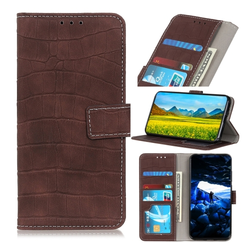For Motorola Moto E6 Plus Crocodile Texture Horizontal Flip Leather Case with Holder & Wallet & Card Slots & Photo Frame(Brown)