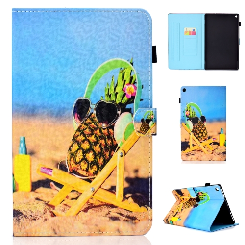 For Amazon Kindle Fire HD 10 Colored Drawing Stitching Horizontal Flip Leather Case, with Holder & Card Slots(Pineapple)
