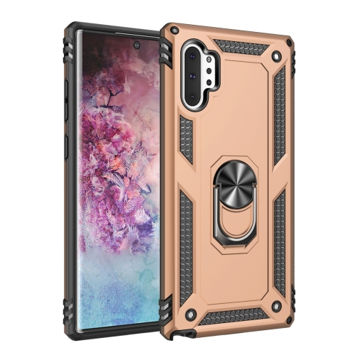 For Galaxy Note 10+ Armor Shockproof TPU + PC Protective Case with 360 Degree Rotation Holder(Gold)