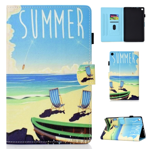 For Amazon Kindle Fire HD 8 Colored Drawing Stitching Horizontal Flip Leather Case, with Holder & Card Slots(Beach)