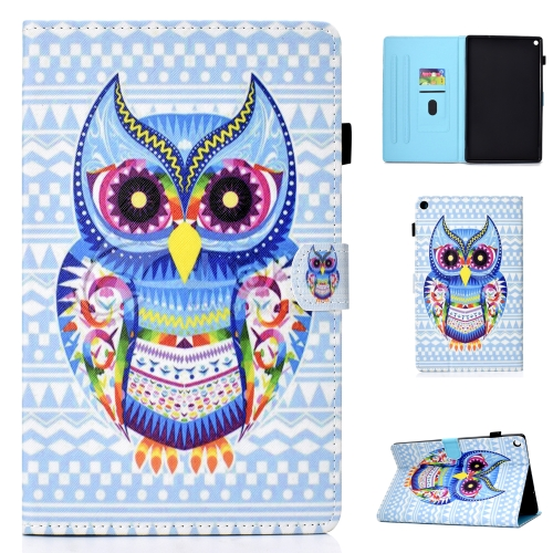 For amazon Kindle Fire HD 10 Colored Drawing Stitching Horizontal Flip Leather Case, with Holder & Card Slots(Colored Owl)
