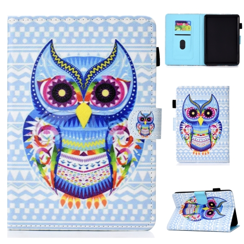 For Kindle Youth Version 2019 Colored Drawing Stitching Horizontal Flip Leather Case, with Holder & Card Slots(Colored Owl)