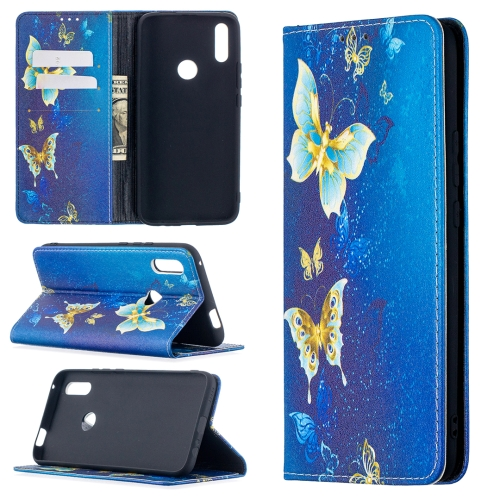 For Huawei P smart Z Colored Drawing Pattern Invisible Magnetic Horizontal Flip PU Leather Case with Holder & Card Slots & Wallet(Gold Butterflies)  - buy with discount