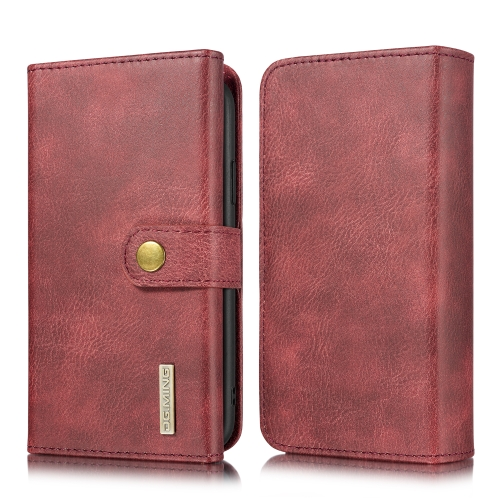 For iPhone 11 DG.MING Triple Fold Crazy Horse Texture Magnetic Horizontal Flip Leather Case with Holder & Card Slots & Wallet(Red)