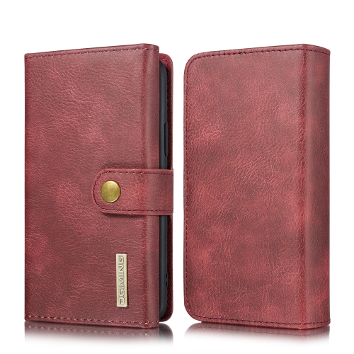 For iPhone 11 Pro Max DG.MING Triple Fold Crazy Horse Texture Magnetic Horizontal Flip Leather Case with Holder & Card Slots & Wallet(Red)