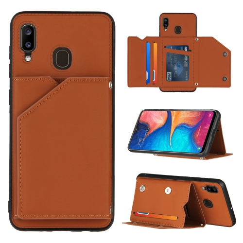 For Samsung Galaxy A20 & A30 Skin Feel PU + TPU + PC Back Cover Shockproof Case with Card Slots & Holder & Photo Frame(Brown)  - buy with discount
