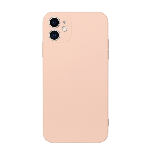 Straight Edge Solid Color TPU Shockproof Case For iPhone 11(Light Pink)  - buy with discount