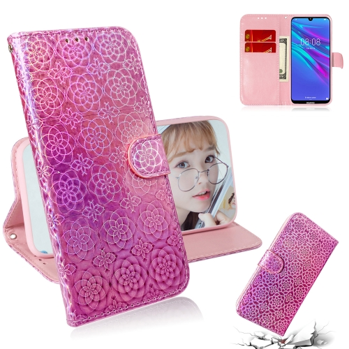 For Huawei Y6 2019 Solid Color Colorful Magnetic Buckle Horizontal Flip PU Leather Case with Holder & Card Slots & Wallet & Lanyard(Pink)
