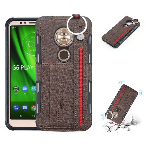 For Motorola Moto G6 Play Cloth Texture + TPU Shockproof Protective Case with Metal Ring & Holder & Card Slots & Hanging Strap(Coffee)