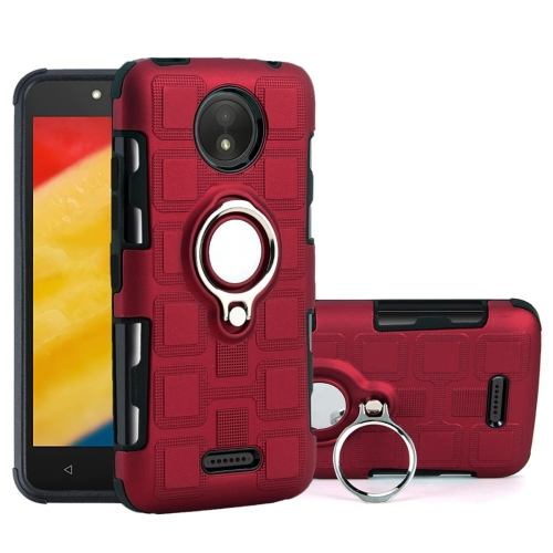 For Motorola Moto C Plus 2 In 1 Cube PC + TPU Protective Case with 360 Degrees Rotate Silver Ring Holder(Red)