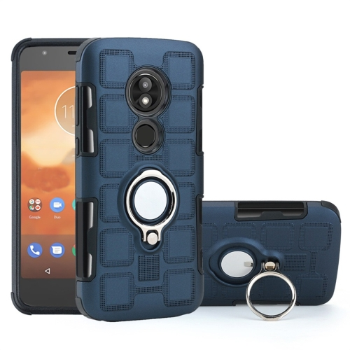 For Motorola Moto E5 Play 2 In 1 Cube PC + TPU Protective Case with 360 Degrees Rotate Silver Ring Holder(Navy Blue)