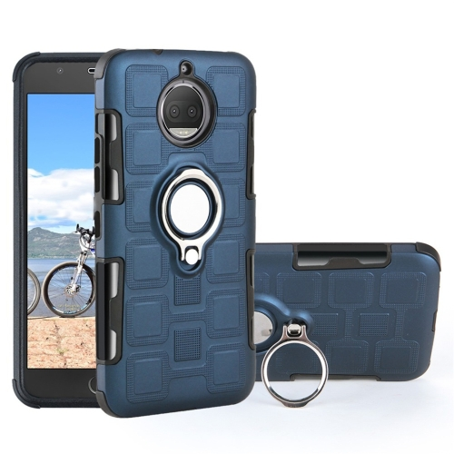 For Motorola Moto G5S 2 In 1 Cube PC + TPU Protective Case with 360 Degrees Rotate Silver Ring Holder(Navy Blue)