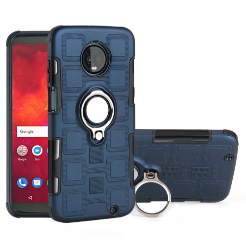 For Motorola Moto Z3 Play 2 In 1 Cube PC + TPU Protective Case with 360 Degrees Rotate Silver Ring Holder(Navy Blue)