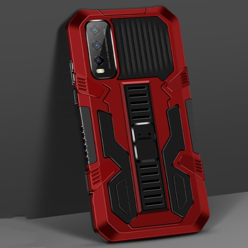 For vivo Y20 Vanguard Warrior All Inclusive Double-color Shockproof TPU + PC Protective Case with Holder(Red)  - buy with discount