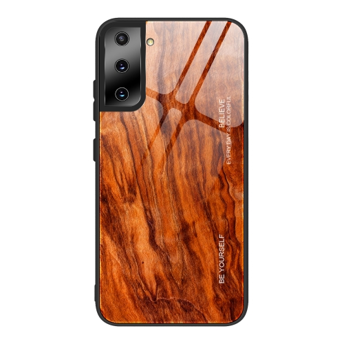 For Samsung Galaxy S21 Ultra 5G Wood Grain Glass Protective Case(M06)  - buy with discount