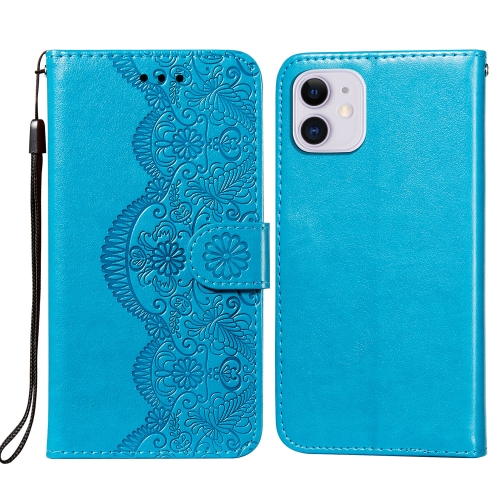 Flower Vine Embossing Pattern Horizontal Flip Leather Case with Card Slot & Holder & Wallet & Lanyard For iPhone 11(Blue)  - buy with discount