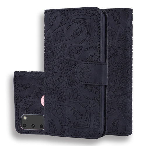 For Galaxy M30s Calf Pattern Mandala Double Folding Design Embossed Leather Case with Wallet & Holder & Card Slots(Black) фото