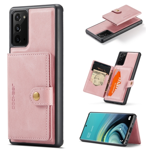 For Samsung Galaxy Note20 JEEHOOD Retro Magnetic Detachable Protective Case with Wallet & Card Slot & Holder(Pink)  - buy with discount