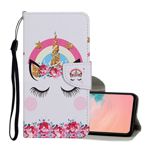 For Samsung Galaxy A32 5G Colored Drawing Pattern Horizontal Flip Leather Case with Holder & Card Slots & Wallet & Lanyard(Crown Unicorn)