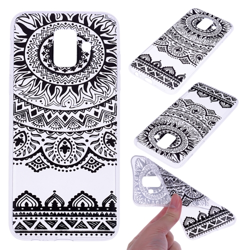 For Galaxy A6 (2018) Coloured Drawing Pattern Highly Transparent TPU Protective Case(Black Lace)