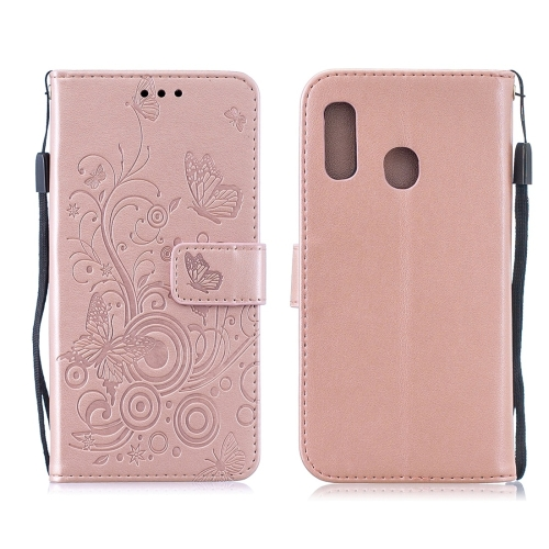 For Galaxy A40 - Butterflies Love Flowers Pattern Horizontal Flip Leather Case with Holder & Card Slots & Wallet & Lanyard(Rose Gold)